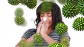 bacterial : Close-up view of a sneezing young Caucasian woman with random green pollen grains moving toward her
