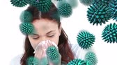 bacterial : Close-up view of a sneezing young African American woman with random green pollen grains moving toward her Stock Footage