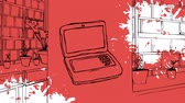 computer graphics : Digital animation of a laptop drawn on a red library drawn background