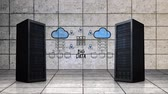serwerownia : Digital animation of server towers moving on a large empty tiled room with an explanation drawing of Big Data