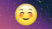 頬 : Animation of yellow emoji nodding with pink cheeks and confetti falling down against purple background