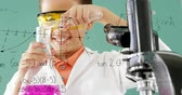 tanulmány : Digital composite of African-american boy wearing eye protection and mixing chemicals at classroom. Mathematical equations are seen in background 4k