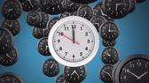gestion du temps : Digital animation of an analogue white clock with a background of falling black clocks