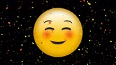emoticon : Digital animation of a smiling face emoji on a black background with digital confetti