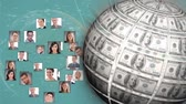 hombres : Digital composite of rotating globe made of money and profile pictures grouped together forming a globe