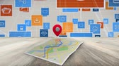 dijital teknoloji : Digital animation of internet icons on a map Stok Video