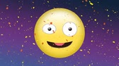 winking : Digital animation of winking emoji and falling confetti on purple background