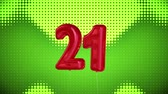 brilhar : Digital animation of number twenty One birthday balloons on a green sequenced background Vídeos