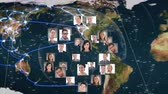 hombres : Digital composite of a world map and profile photos hovering over it with a transparent globe