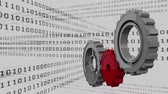 makinesi : Digital animation of cogs and a background filled with binary codes Stok Video