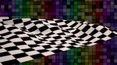 анимация : Digital animation of chequered flag waving against colourful chequered background Стоковые видеозаписи