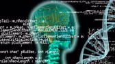 neurony : Digital animation of a human head and DNA helix. Program codes are seen running in the foreground. Wideo