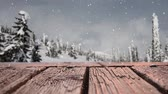 cg graphics : Digital animation of a wooden plank set outside where it is snowing.