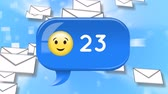 inbox : Digital animation of a message bubble icon with a smiley and increasing numbers and the background of falling envelopes.