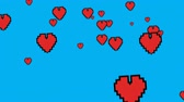 dia dos namorados : Digitally generated animation of red heart icons moving up the screen against a blue background.