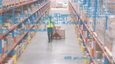 organisation : Digital composite of a Caucasian man in uniform dragging a fork lift with boxes inside a warehouse while program codes move in the screen Vidéos Libres De Droits