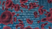 montage : Digitally generated animation of red blood cells and binary codes moving in the screen