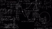 расчет : Digital animation of mathematical equations moving in the screen against a black background