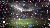 オリンピック : Digital animation of confetti falling with a background of a stadium