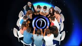 contagem regressiva : Digital composite of a group of diverse people seated in a circle table while table shows a countdown from 10