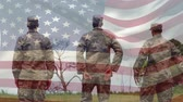 stodola : Digital composite of military men in uniform at a park while an American flag waves in the background