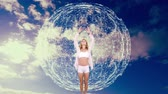 out of focus : Digital composite of a Caucasian woman doing yoga with a sky background and connected lines and dots in the shape of a globe flying in the foreground