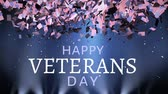 idosos : Digital animation of American flags falling like confetti with a text in the bottom that reads Happy Veterans Day