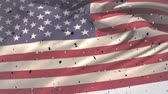 gloire : Digital animation of an American flag waving against the wind while confetti falls down Vidéos Libres De Droits