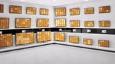 kino : Digital animation of displayed monitors showing gold disco light effects on a store