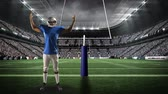 viraj : Digital animation of an American football player standing at a field goal Stok Video