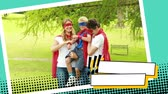 família : Front view of a couple carrying their son while wearing superhero costumes at a park in a digital photo border effect