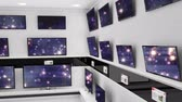 discounts : Digital animation of flat screen televisions on a wall with shining lights on their screens