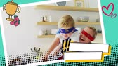 having fun : Close up of a mother carrying her son while wearing superhero costumes in the kitchen in a digital photo border effect Stock Footage