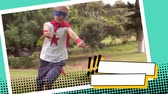 eğlendirmek : Front view of Caucasian boy running around the park while wearing a superhero costume Stok Video