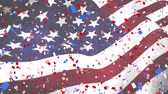 dc : Close up of an American flag waving with digital confetti