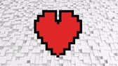 coração : Digital animation of a pixel heart on a background filled with pixel cubes