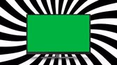 sinema : Digital animation of a flat screen television with a green screen on a spinning striped background Stok Video