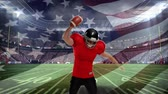 euforie : Digital composite of an American football athlete celebrating on a field stadium with US flag waving in the foreground