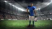 viraj : Digital animation of an African-american football player standing on a field stadium