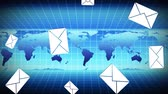 long distance : Digital animation of a world map running in the background with email icons falling in the foreground Stock Footage