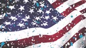 billowing : Digital animation of an American flag waving against the wind and confetti falling down