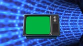 remote control : Digital animation of a television with a green screen travelling in a tube shaped tunnel Stock Footage