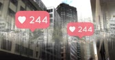 contando : Digital composite of a city with heart icons and numbers counting up 4k