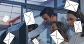 parceria : Digital composite of a manager talking to a call centre agent beside other agents working with envelopes falling on the foreground 4k
