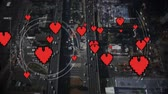 náklonnost : Digital composite of a satellite view of a highway with hearts in the foreground