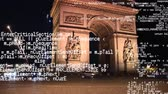 код : Digital composite of the Arc de Triomphe with fireworks in the background and program codes running the foreground Стоковые видеозаписи