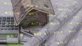 kazanç : Digital composite of dollar bills folded in the shape of a house beside a calculator on building plans with stock market number in the foreground Stok Video