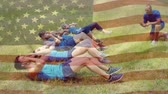 obstacle course : Digital composite of athletes doing sit ups on grass while one counts with an American flag waving in the foreground