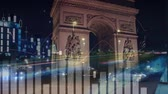 kazanç : Digital composite of Arc de Triomphe with graphs and statistics in the foreground