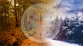 ligne du temps : Digital composite of trees on winter and on autumn separated by a clock in the middle Vidéos Libres De Droits